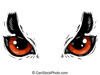 drawing of the eyes owl on white background