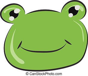 Drawing of the face of a smiling frog vector or color illustration