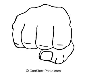 drawing of the fist on white background