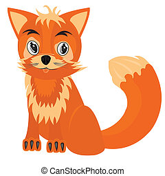 Drawing of the fox on white background