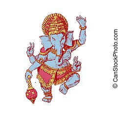 Drawing of the god Ganesha bright color vector illustration. Indian culture.