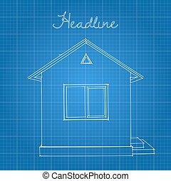 Drawing of the home on a blue background.