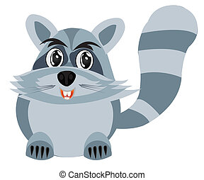 Drawing of the racoon on white background