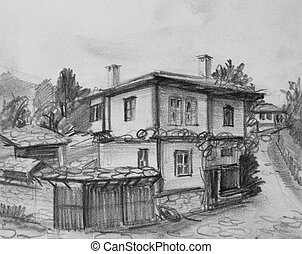 Drawing of Traditional Old Bulgarian House - Pencil black...