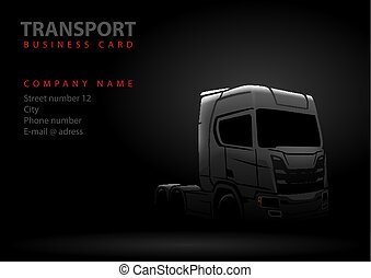 Truck Silhouette on Black Background - Drawing of Truck...