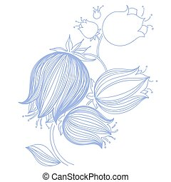 Drawing of tulips, bluebell or campanula in violet color....