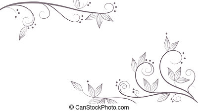 drawing of vines and flower pattern in a white background