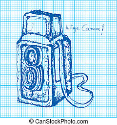 drawing of vintage camera on graph