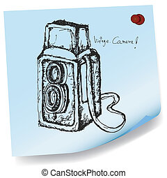 drawing of vintage camera on sticky
