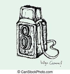drawing of vintage camera vector