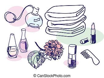 Drawing of vintage cosmetics set