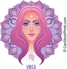 Drawing of Virgo astrological sign as a beautiful girl over ornate mandala pattern. Zodiac vector illustration isolated on white. Future telling, horoscope.
