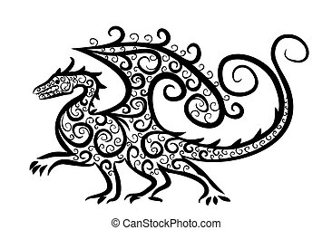 Drawing of winged dragon. - Drawing of a winged dragon...