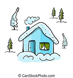 Drawing of winter house in forest