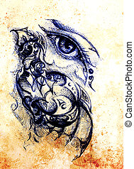 Drawing of woman eye on graphic background with ornament. Color effect.