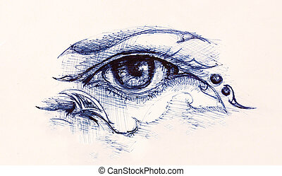 Drawing of woman eye on graphic background with ornament.