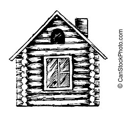 Drawing of wooden house. - Drawing of the country wooden ...