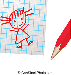 Drawing on a paper and a red pencil - The drawn drawing on a...