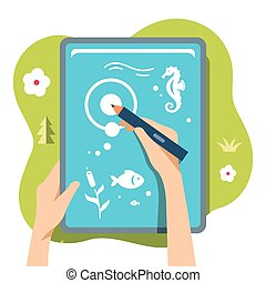 Drawing on a tablet. Flat style colorful Vector Cartoon...