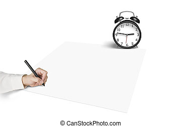 Drawing on blank paper with alarm clock