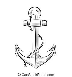 Drawing one-color anchor. Vector illustration