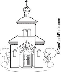 Drawing orthodox church - Vector illustration of a church