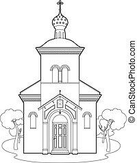 Drawing orthodox church - Vector illustration of a church