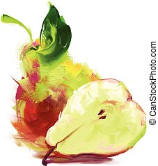 drawing pear with a slice - vector isolated pear with a...