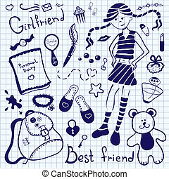 A set of accessories and things of a young girl, drawing pen on notebook sheet