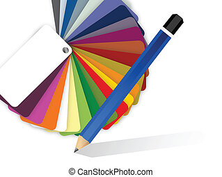 drawing pencil and color pallet illustration design over a white background