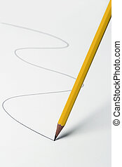 Drawing-pencil - pencil moving on a white surface and...