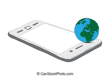drawing phone and world globe isolated on white