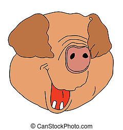 drawing pig on white background