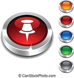 Drawing-pin 3d button. - Drawing-pin 3d button set. Vector...