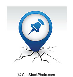 Drawing-pin blue icon in crack. - Drawing-pin modern icon....