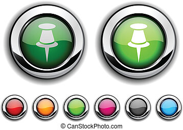 Drawing-pin button. - Drawing-pin realistic buttons. Vector...
