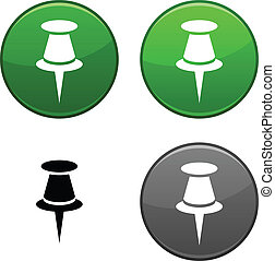Drawing-pin button. - Drawing-pin round buttons. Black icon...