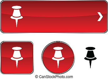 Drawing-pin button set. - Drawing-pin web buttons. Vector...