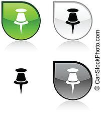 Drawing-pin button. - Drawing-pin glossy drop vibrant...