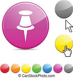 Drawing-pin glossy button. - Drawing-pin glossy vibrant...