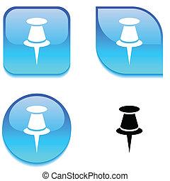 Drawing-pin glossy button. - Drawing-pin glossy vibrant web...