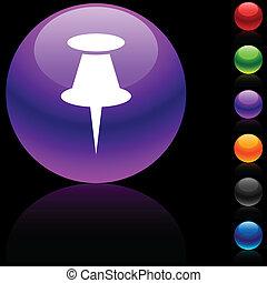 Drawing-pin icon. - Drawing-pin glossy icon. Vector...