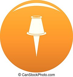 Drawing pin icon vector orange