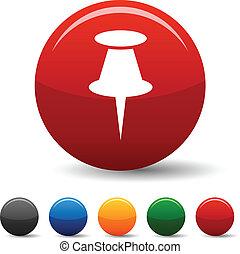 Drawing-pin icons. - Drawing-pin icon set. Vector...