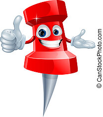 Cartoon red drawing pin man smiling and giving a thumbs up