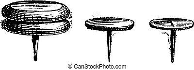 Drawing Pin or Push Pin, vintage engraving. - Drawing Pin or...