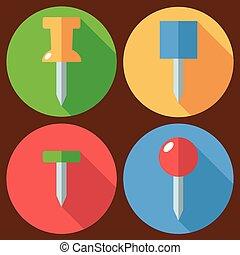 drawing pin set flat - Set of drawing pin icon. Vector flat...