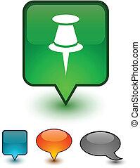 Drawing-pin speech comic icons. - Drawing-pin glossy speech...