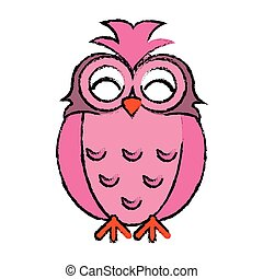 drawing pink owl loving