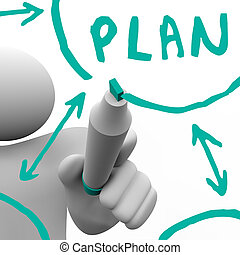 Drawing Plan Flowchart on Board - A person draws a flowchart...